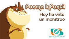 """Poesías cortas para niños: Esta noche he visto un monstruo. Poema escrito por J. David Collazo Dubra escritor de """"El Legado Primigenio""""."""