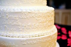 Wedding Cake with words about the bride and groom