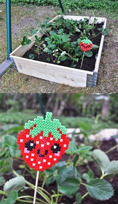 hama bead strawberry plant marker