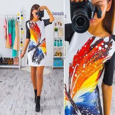 Dresses 2017 Women Dress Vintage Printed Half Sleeve Slim Party Dresses Vestidos Ladies Mini Loose Summer Dress Details on this item can be viewed on AliExpress website by clicking the VISIT button Vestidos Retro, Dress Vestidos, Mini Vestidos, Half Sleeve Women, Half Sleeve Dresses, One Piece Dress, Retro Dress, European Fashion, European Style