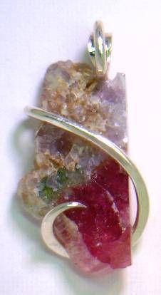 33.86ct Beautiful Rubelite Tourmaline & Sterling Silver Wrap Pendant