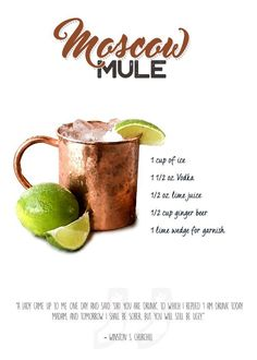 """Popular Bar Cocktails Moscow Mule #Displate artwork by artist """"Swav Cembrzynski"""". Part of an 8-piece set featuring artwork based on popular bar cocktails, their ingredients, and a famous quote relating to the drink. £39 / $52 per poster (Regular size) #Cocktail #Cocktails #LongIslandIceTea #LongIslandIcedTea #Martini #Margarita #PinaColada #Mojito #WhiteRussian #BloodyMary #MoscowMule"""