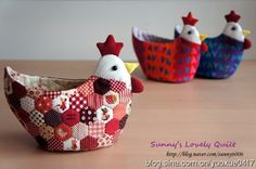 Encore avec des hexies, poulette vide-poches - Tutorial in Chinese (Patchwork: Chickens really cute)