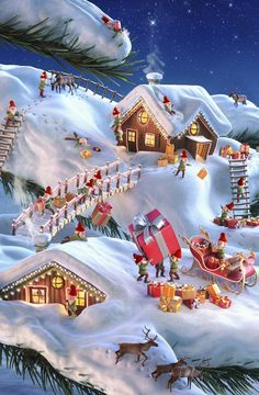 Christmas Village all alight hidden object Christmas Scenery, Christmas Village Display, Christmas Villages, Christmas Past, Christmas Greetings, Winter Christmas, Disney Christmas, Christmas Nails, Christmas Quotes