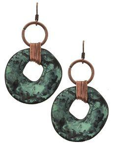 Patina & Burnished Copper Tone / Lead&nickel Compliant / Metal / Fish Hook / Circle / Dangle / Earring Set