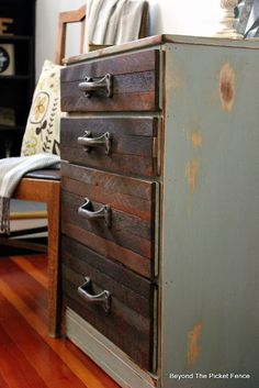 Rustic Industrial, http://bec4-beyondthepicketfence.blogspot.com/2015/08/rustic-industrial-chest-of-drawers.html