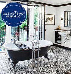 Love patterned floors! bathroomtrend1