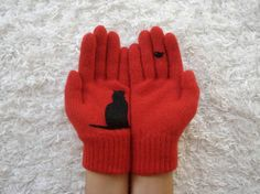 zoom Item Details        (195)   Shipping & Policies Cat & Bird Gloves, Red Gloves, Unisex Gloves, Animal, Pet Lovers, Cats, Christmas Gif...