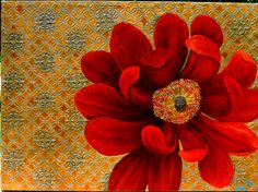 Giant Red zinnia painting, on gold highly textured background. painting by Kara Michael Freeman