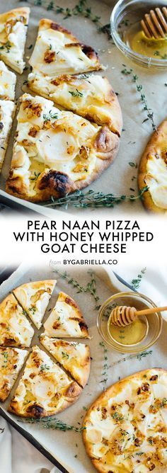 Naan Pizza with Honey Whipped Goat Cheese Pear Naan Pizza recipe with Honey Whipped Goat Cheese, fresh thyme and a Mielbio honey drizzle.Pear Naan Pizza recipe with Honey Whipped Goat Cheese, fresh thyme and a Mielbio honey drizzle. Seafood Recipes, Appetizer Recipes, Vegetarian Recipes, Cooking Recipes, Pizza Appetizers, Vegetarian Pizza, Appetizers With Goat Cheese, Pear Recipes Dinner, Healthy Pizza Recipes
