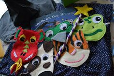 Amazing home made masks to wear whilst telling the story of Room on the Broom.