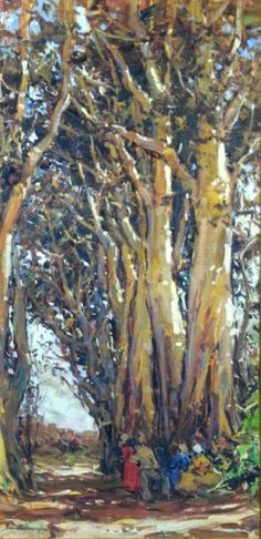 People and Trees Scenery by Adriaan Boshoff Impressionist Art, Impressionism, South African Artists, Landscape Paintings, Art Paintings, Old Master, Mellow Yellow, Artist At Work, Art Oil