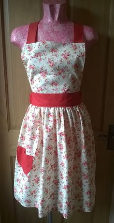 Cream and red floral apron