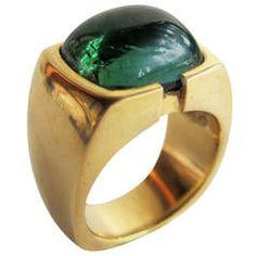Cabochon Tourmaline Gold Signet Ring