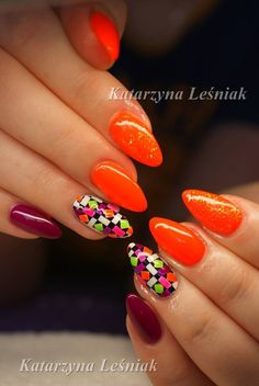 by Kasia Leśniak, Double Tap if you like #mani #nailart #nails #orange Find more Inspiration at www.indigo-nails.com