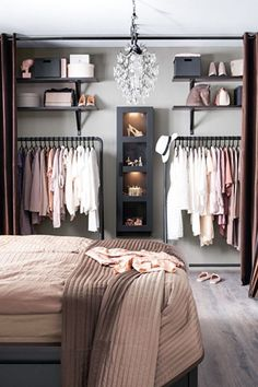 Debbie: I like the open closet for main house. Considering on locker room design in a small space bedroom could be a hard problem to solve. You should find ideas and inspirations on it carefully. Closet Designs, Bedroom Designs, New Room, Bedroom Decor, Teen Bedroom, Master Bedroom, Bedroom Wardrobe, Bedroom Lighting, No Closet Bedroom