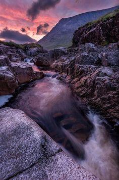 River Etive in Glen Etive before the sun rises, Scotlands' Highlands