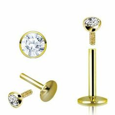 "1 - 14k Gold 16g 5/16"" 2mm Clear Cz Internally Threaded Bezel Set Labret Chin Lip L70 blue palm jewelry. $59.99. 16 gauge. chin. Labret. 5/16 inch length. gold"