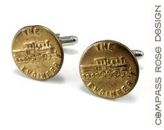 Train Cufflinks, Vintage Uniform Button Cuff Links, Brass Steam Engine Vintage Upcycled Mens Cuff Links