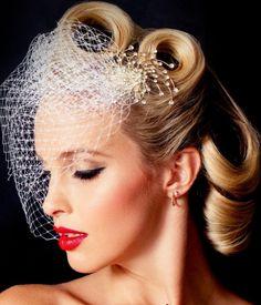 Trendy Vintage Wedding Makeup Bridal Looks Make Up Birdcage Veils Ideas wedding hairstyles Victory Rolls, Retro Wedding Hair, Wedding Vintage, Trendy Wedding, Vintage Weddings, Wedding Updo, Rockabilly Wedding Hair, 1940s Wedding, Wedding List