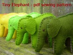 Tiny Elephant pdf sewing pattern by tiddliwinktoys on Etsy