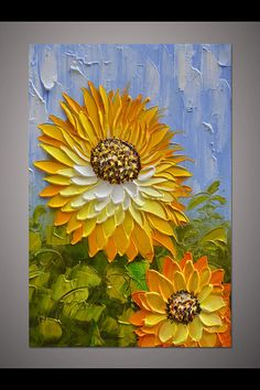 Hand-painted modern home decor orange yellow sunflower wall art picture thick acrylic palette knife flower oil painting on canvas art ByLisa - Painting Subjects Oil Painting Flowers, Texture Painting, Oil Painting On Canvas, Canvas Art, Orange Painting, Orange Art, Orange Yellow, Acrylic Colors, Acrylic Art