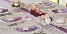 Tischdekoration zur Kommunion und Konfirmation in Flieder und Weiß