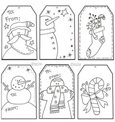 hand drawn primitive christmas tags by sarahx
