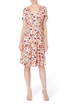 Free shipping and returns on Catherine Catherine Malandrino Taral Faux Wrap Dress at Nordstrom.com. Splashed with vibrant watercolor blossoms, a charming spring dress is cut from matte jersey in a flattering faux-wrap style with a series of pleats streaming down one side.