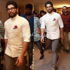 Allu Arjun got the well groomed look down pat at a recent wedding in Hyderabad in an Off-White Raghavendra Rathore Nehru Jacket. Engagement Dress For Men, Wedding Dress Men, Wedding Suits, Saree Wedding, Nehru Jacket For Men, Nehru Jackets, Indian Men Fashion, Mens Fashion Wear, Men's Fashion