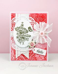 Serendipity Stamps Challenge Blog - Jeanne Jachna used Serendipity Stamps Queen Anne's Lace Small and Hello Small rubber stamps to make her card.