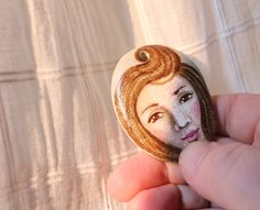 Painted stone. portrait on stone. stone necklace by sabiesabi