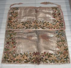 """ANTIQUE OTTOMAN Silk Apron With Embroidery, Beg. Of Xix Century? - $349.99. ANTIQUE OTTOMAN SILK APRON IS NOT IN EXCELLENT CONDITION. THERE ARE SOME STAINS(SPECIALLY ON THE BACK SIDE), IT'S TORN ON SOME PLACES, SILK CLOTH IS PARTLY FRAYED, BUT YET THIS APRON IS OUTSTANDING PIECE. IT'S MADE OF SILK , WITH UNIQUE EMBROIDERY. DIMENSIONS - 21''4/8 X 19""""4/8; 391375246060"""