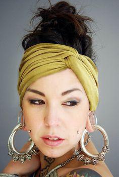 Turban Twist HeadBand, and amazing earrings (not gauged)!