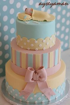 Baby Shower Cake for a boy cake decorating recipes kuchen kindergeburtstag cakes ideas Torta Baby Shower, Baby Shower Cakes For Boys, Shower Baby, Pretty Cakes, Cute Cakes, Beautiful Cakes, Amazing Cakes, Baby Cakes, Fondant Cakes