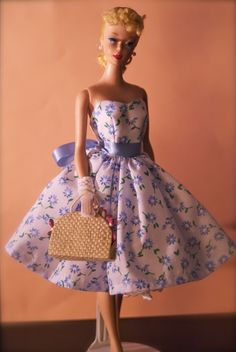 https://flic.kr/p/e8JTpP | Vintage Barbie No.4 Ponytail | Wearing a lovely dress made by Lilly Lilac
