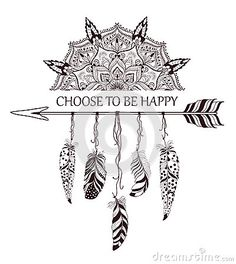 Hand drawn boho style design with mandala, arrow and feathers.