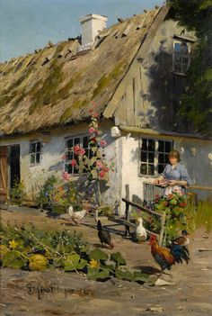 In the Countryside - Peder Mork Mønsted - The Athenaeum Paintings I Love, Beautiful Paintings, Landscape Art, Landscape Paintings, Pintura Tole, Cottage Art, Farm Yard, Oeuvre D'art, Farm Life