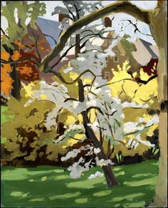 Forsythia and Pear in Bloom, 1968 by Fairfield Porter - oil on canvas. The painting is at the Smithsonian American Art Museum in Washington, D. Fairfield Porter, Landscape Art, Landscape Paintings, Hawaii Landscape, Art Triste, Paintings I Love, Anime Comics, Tree Art, American Art