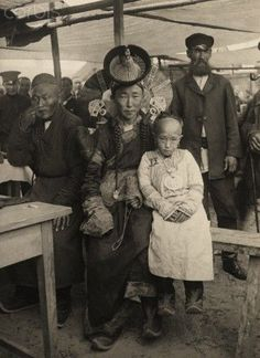 A wealthy Mongolian Mother poses with her Daughter 1921