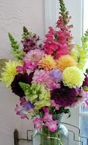 Summer dahlias and snapdragons in a big bouquet. Grown by Bare Mtn Farm