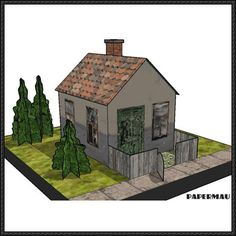 Simple House With Bushes Free Building Paper Model Download - http://www.papercraftsquare.com/simple-house-bushes-free-building-paper-model-download.html