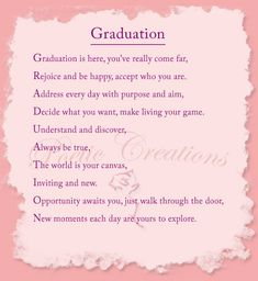 Graduation Poems, verses,quotes for cards, scrapbooking, speeches - Graduation 2020 Graduation Poems, Graduation Message, Graduation Scrapbook, 8th Grade Graduation, Graduation Celebration, High School Graduation, Graduation Quotes For Daughter, Graduation Card Messages, Graduation Greetings
