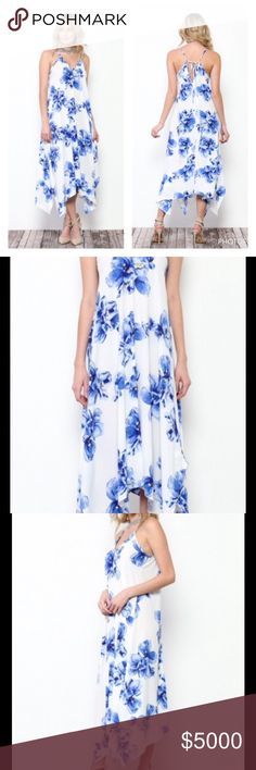 IVORY & BLUE FLORAL PRINT ASYMMETRICAL DRESS Ivory & Blue Floral Asymmetrical Dress  Sleeveless & Ties in the Back  Gorgeous Floral Print  The Asymmetrical Hem Flows & Drapes Beautifully   Great for a Night Out  Sizes S, M, L Polyester   Bundle Discount Available  NO TRADES Peach Couture Dresses