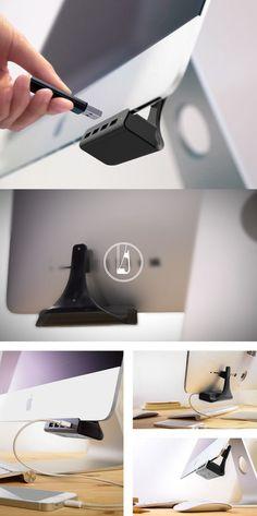 Huback: Plug & Play, No More Turning iMac. It is THE USB HUB that belongs to iMac