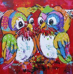 rode uilen www.vrolijkschilderij.nl