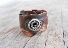 Rustic Copper Ring, Sterling Swirl, Riveted Jewelry, Hammered Texture Mixed Metal, Overlapped Ring