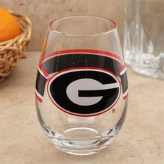 Georgia Bulldogs Striped 20oz. Glass