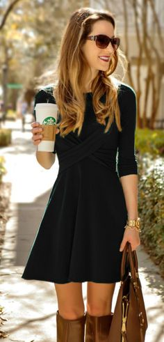 Black Cross Front Pleated Dress