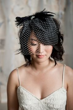 Mini birdcage veil - black feather adorned | Tessa Kim veils and accessories